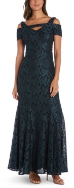 Night Way Nightway Cold-Shoulder Lace Mermaid Gown