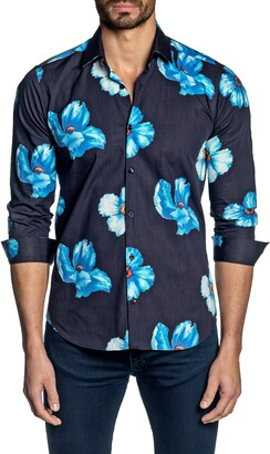 Jared Lang Regular Fit Floral Button-Up Shirt