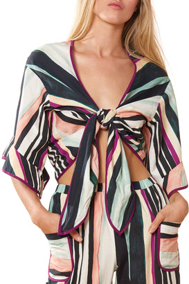 Red Carter Melanie Striped Tie-Front Coverup Top