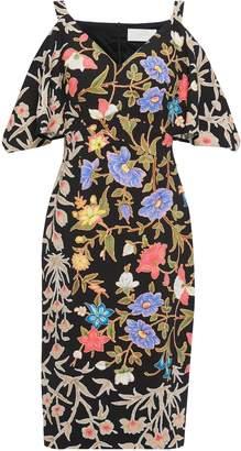 Peter Pilotto Cold-shoulder Draped Printed Cloque Dress