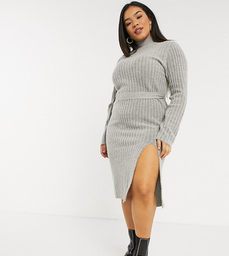Urban Bliss Plus knitted dress with belt in gray