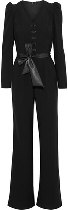 Elie Tahari Campbell Belted Button-embellished Crepe Jumpsuit