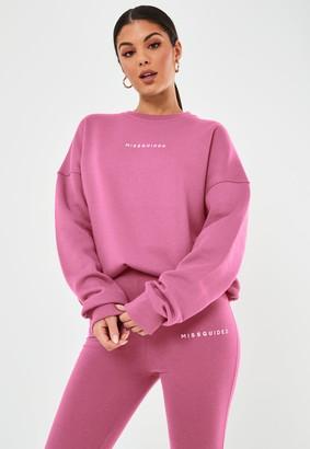 Missguided Pink Basic Slogan Oversized Sweatshirt