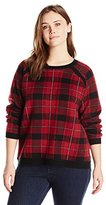 Leo & Nicole Women's Plus-Size Plaid Boat-Neck Pullover Sweater