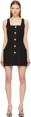 Balmain Black Wool Sleeveless Button Dress
