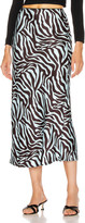Andamane ANDAMANE Bella Midi Skirt in Zebra Light Blue   FWRD