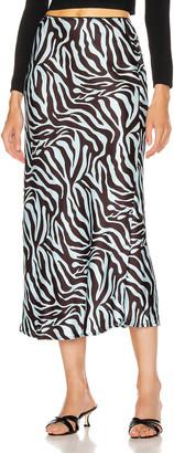 ANDAMANE Bella Midi Skirt in Zebra Light Blue | FWRD