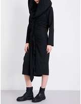 Yohji Yamamoto Hooded pleated midi dress