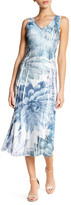 Komarov Floral V-Neck Midi Dress (Petite)