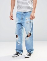 Asos Oversized Jeans With Mega Rips In Light Blue