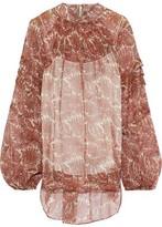 ADAM by Adam Lippes Shirred Printed Silk-chiffon Blouse