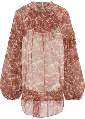Adam Lippes Shirred Printed Silk-chiffon Blouse