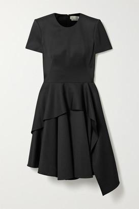 Alexander McQueen Asymmetric Layered Wool-crepe Dress - Black