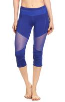Electric Yoga Royal Blue Mesh-Accent Color Block Capri Leggings