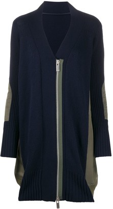 Sacai Colour Block Zip Front Cardigan