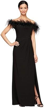 Alex Evenings Long Off-the-Shoulder Gown w/ Maribou Detail (Black) Women's Clothing