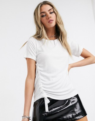 AllSaints ryder lux ruched side tie t-shirt in chalk white