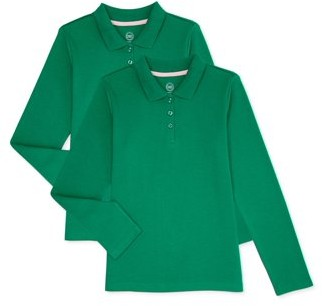 Wonder Nation Girls School Uniform Long Sleeve Interlock Polo Shirt, 2-Pack Value Bundle, Sizes 4-18