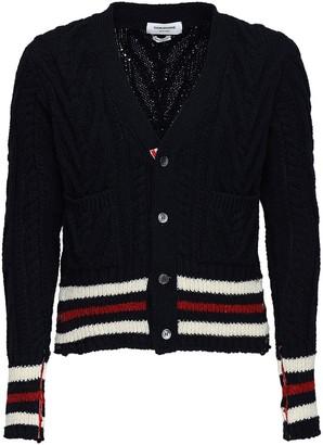 Thom Browne Wool Aran Cable Knit Cardigan