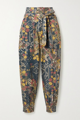 CHUFY Puno Belted Printed Cotton-poplin Tapered Pants - Blue