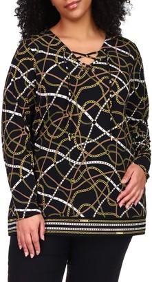 MICHAEL Michael Kors Lace-Up Neck Chain Print Jersey Tunic