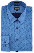 Neiman Marcus Extra-Trim Regular-Finish Dot Dress Shirt, Blue