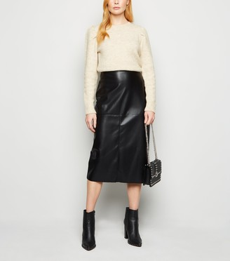New Look NA-KD Leather-Look Midi Skirt