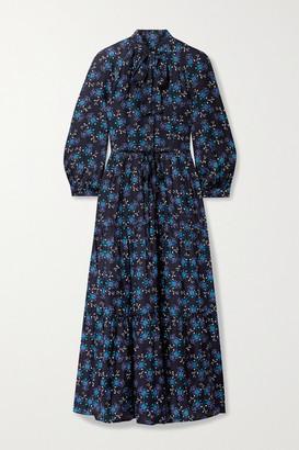 Cefinn Olivia Tie-detailed Tiered Printed Satin-twill Midi Dress - Midnight blue