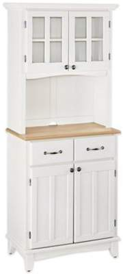 Home Styles Natural Wood Top Small Buffet/Server with Hutch in White