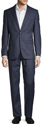 Calvin Klein Extra Slim Fit Windowpane Wool Suit