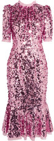 Dolce & Gabbana Sequined Tulle Midi Dress - Baby pink