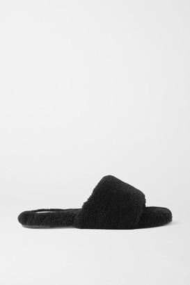 PORTE & PAIRE Faux Shearling Slides - Black