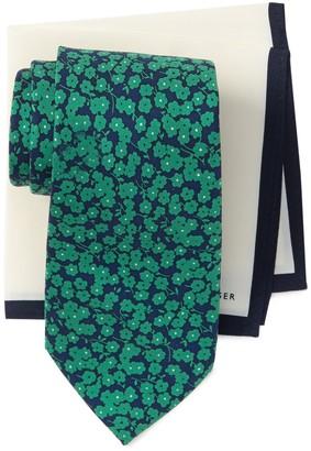 Tommy Hilfiger Dark Floral Tie & Bordered Pocket Square Set
