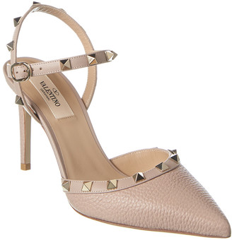 Valentino Rockstud 85 Grainy Leather Ankle Strap Pump
