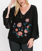 Flying Tomato Black Embroidered Peasant Top - Plus