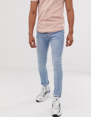 Topman skinny jeans in light blue wash-Grey