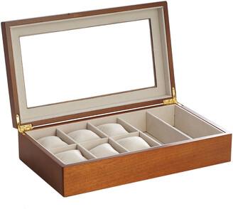 Bey-Berk Cherry Wood Six Watch & Two Sunglass Storage Box