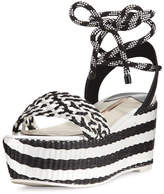 Sophia Webster Nia Woven Platform Ankle-Wrap Sandal, Black/White
