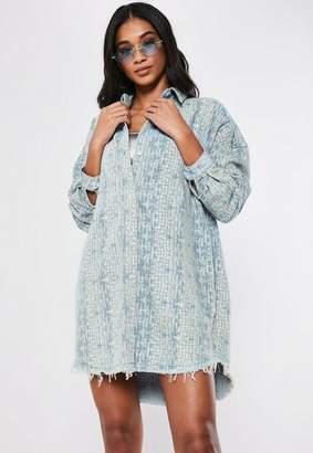 Missguided Blue Denim Croc Oversized Shirt Dress