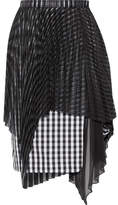 Facetasm Layered Jacquard, Gingham Cotton And Chiffon Skirt - Black