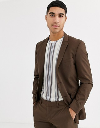Esprit slim fit suit jacket in tan