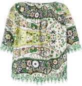 Etro embroidered trim floral blouse