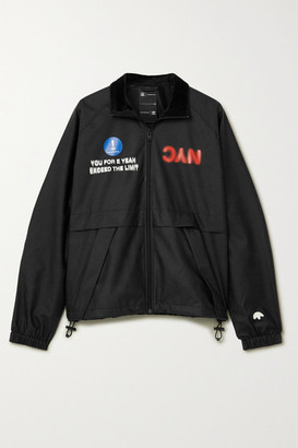 Adidas Originals By Alexander Wang Velour-trimmed Printed Shell Track Jacket - Black
