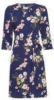 Dorothy Perkins Womens Blue Blossom Print Pleat Neck Dress, Blue
