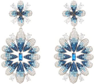 Latelita Babylon Ice Blue Gradient Flower Drop Earrings Silver