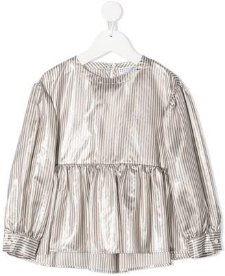 BRUNELLO CUCINELLI KIDS Striped Flared Blouse