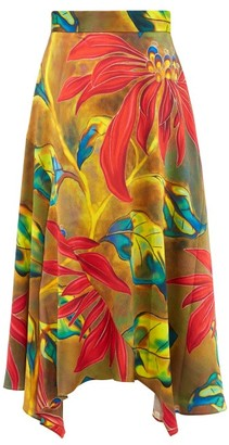 Peter Pilotto Tropical Print Silk Blend Cloque Midi Skirt - Womens - Green Multi