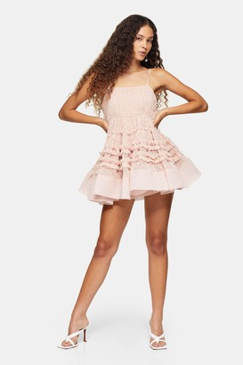 Lace & Beads Womens **Bethan Polka Mesh Mini Dress By Blush