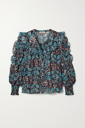 Ulla Johnson Isadora Ruffled Floral-print Fil Coupe Silk And Lurex-blend Georgette Blouse - Blue