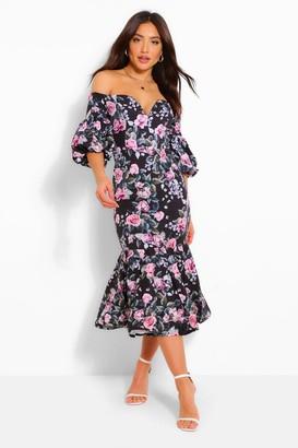 boohoo Floral Plunge Puff Sleeve Frill Hem Midi Dress